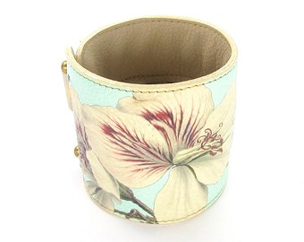 Leather cuff purse, wallet cuff, bracelet, wristband - Rose Scented Geranium