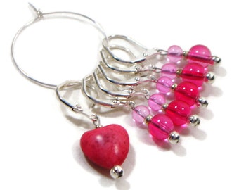 Removable Stitch Markers Crochet Locking Stitch Markers Beaded Dark Pink Heart Row Markers Knitting Supplies DIY Crafts