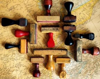 Set of 12 Vintage Wooden Rubber Stamp Mounts - Set No. 2