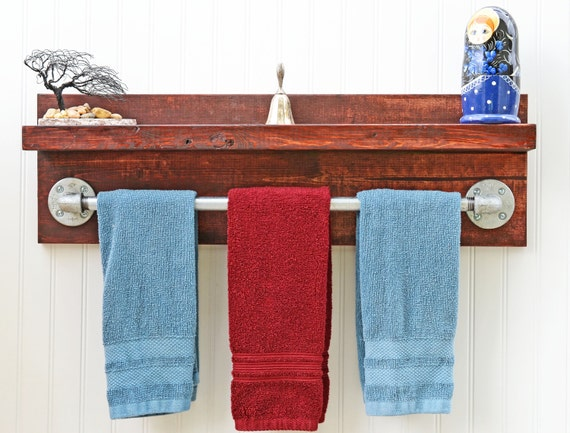 Decorative Bathroom Towel Storage : Bathroom towel rack rustic style shelf decor storage