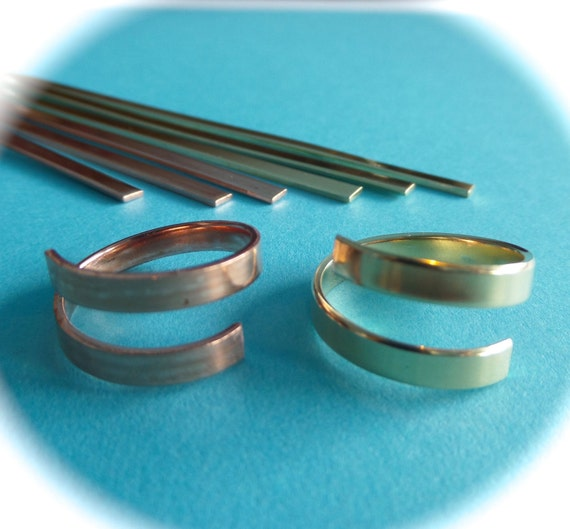 "10 Copper or Jeweler's Brass 1/8"" Wide Wrap Blanks 18 Gauge Metal Stamping Ring Blanks Polished Flat Blanks - Made in USA"