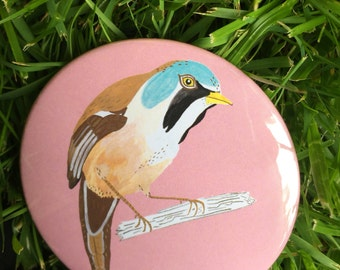 Bearded Tit 3 inch / 76mm Pocket Mirror