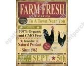 Print Farm Fresh Eggs , Instant Download , Vintage Primitive Ad , Mixed Media