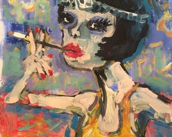 ON RESERVE / JK for 2nd Installment / Original Painting, Hipster Roaring Twenties Follies Entertainer Figurative Art