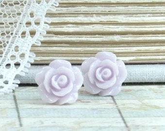 Purple Rose Studs Small Rose Earrings Light Purple Earrings Hypoallergenic Purple Flower Earrings