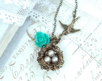 Nest Pendant Necklace Bird Nest Necklace Woodland Necklace Nest Jewelry Three Egg Nest Necklace