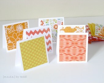 Mini Note Card Set (12 cards) - Orange/Yellow