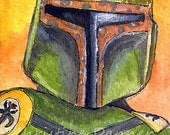 Original Art Star Wars Fan Art Boba Fett ACEO Painting