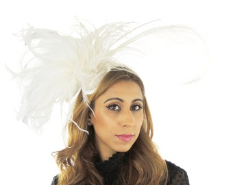 White Bridal Fascinator Hat for Kentucky Derby, Weddings and Christmas Parties **SAMPLE SALE