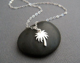 tiny palm tree necklace. small simple beach jewelry. everyday sterling silver summer memory charm. fronds. ocean pendant. gift for her women