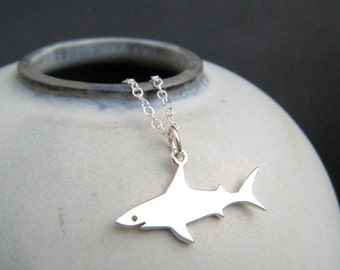 """small sterling silver shark necklace. tiny ocean predator pendant fish aquatic sea marine animal beach jewelry nature charm. gift for her 1"""""""