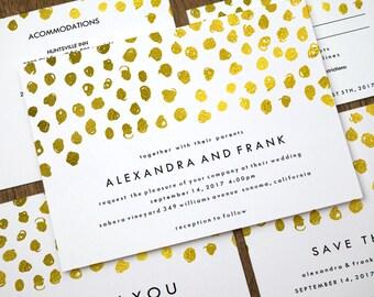 Printable Wedding Invitation Set - Gold Confetti - Wedding Stationery Printables - Gold Dots - Print At Home Wedding Templates - PDF Files
