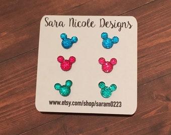 Set of 3 Mickey Mouse earrings ~Disney~ Minnie Mouse ~Disneyland~ kids earrings~ toddler earrings~ Disney vacation~ Disney Inspired Earrings
