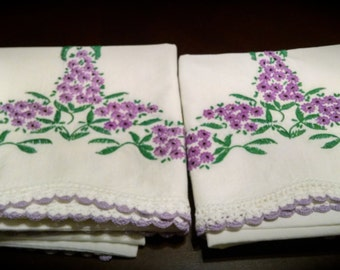 Vintage Hand Crocheted  and Embroidered Pillowcases Purple  Flowers Vintage Linens  Retro Linens Exquisite!!
