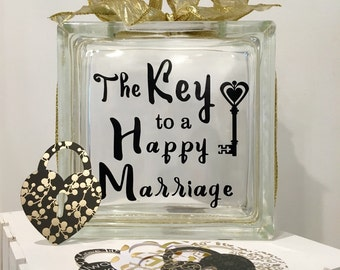 """Wedding Guest Book Wish Jar - Glass Block with """"The Key to a Happy Marriage"""" - Personalized for Free - Paper Locks in Coordinating Colors"""