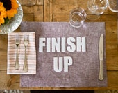 Plum Linen Placemats - 12 phrases to choose from
