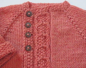 Little Girl's Hand Knit Cardigan, Orange Heather with cable asymmetrical closure- Baby Girl's Hand Knit Cardigan