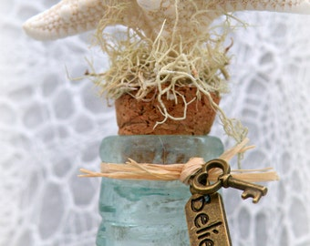 Washed Ashore Vintage Aqua Bottle - Can Be Made Into a Message in a Bottle