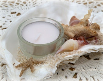 Oyster Shell Tealight Candle Holder - Beach Decor - Beach Wedding