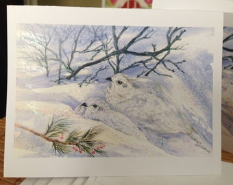 Christmas Holiday Cards with Verse, White -Tailed Ptarmigan Birds,Northern Birds,WinterBirds,Watercolor Fine ArtPrint,cards,Janet Dosenberry