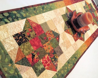Quilted Fall Table Runner - Fall Colors, Abundance Autumn Table Runner, Green and Brown Table Decor, Quiltsy Handmade