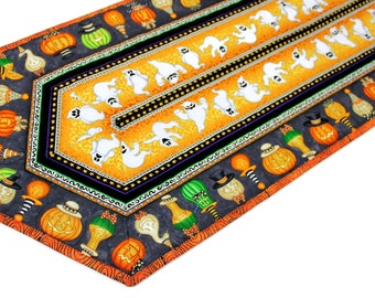 Halloween Quilted Table Runner - Orange and Black Quilt with Pumpkins and Ghosts, Halloween Party Table Decor, Quiltsy Handmade