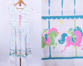 "1950s dress vintage 50s merry go round balloon novelty print day dress XS W 25"""