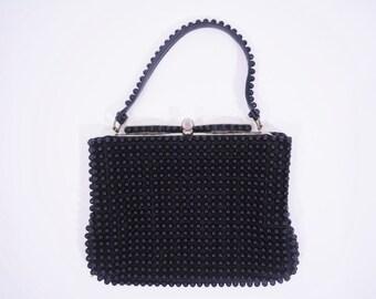 1960s beaded purse | small black beaded mid century handbag | vintage 60s purse