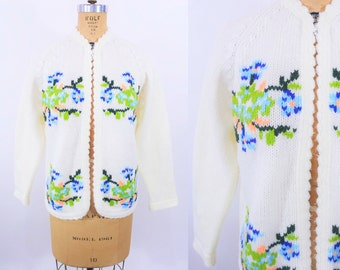 "1960s floral cardigan | cream scallop trim floral knit sweater | vintage 60s cardigan | W 39"""