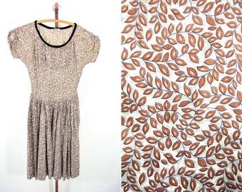 "1950s print dress | leaf novelty print cotton shelf bust dress | vintage 50s dress | W 26"""