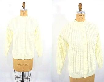1960s knit cardigan | cream Kimlon cable knit sweater | vintage 60s cardigan | M/L