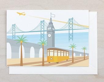 Tram at the Ferry Building Greeting Card - San Francisco, Bay Bridge, California, Plane, Card, Blank, Gift, Holiday