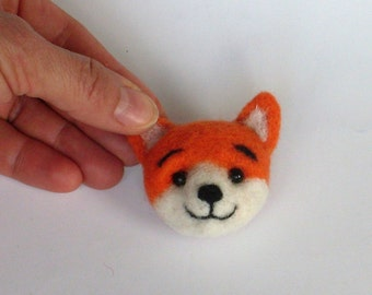 Red Fox Brooch,  needle felted miniature, 2 x 1 1/2  inches, red, orange, white,   handmade