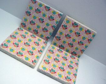 Owl Natural Stone Tile 4x4 Coaster Set of 4 Kitchen Living Design