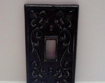 Fleur de lis Cast Iron FDL Light Switch Cover Black Shabby Chic Home Decor
