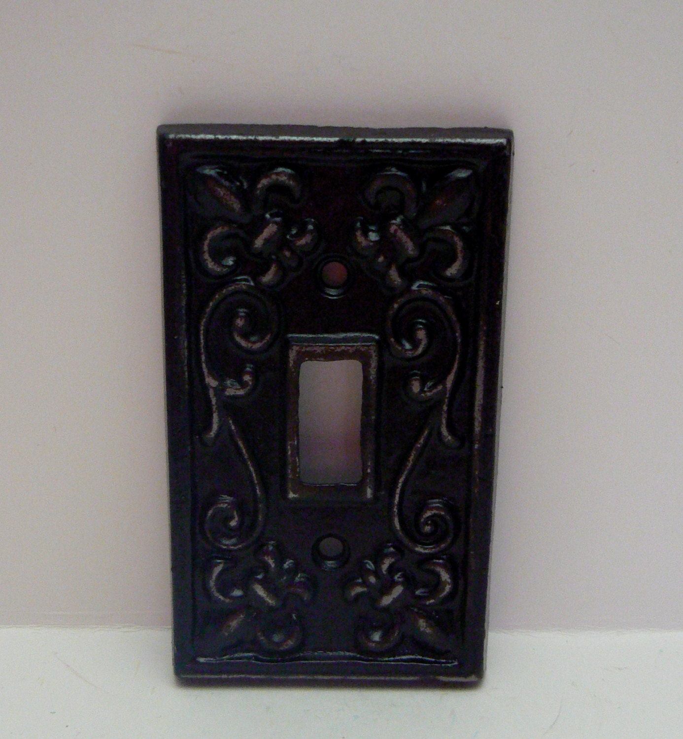 Fleur de lis cast iron fdl light switch plate cover single - Wrought iron switch plate covers ...