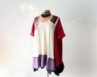 Upcycled Tunic Plus Size Smock Top Bohemian Eco Clothes Short Sleeve Loose Fitting Lagenlook Shirt Shabby Rustic Festival Top 3X 4X 'NICOLE'
