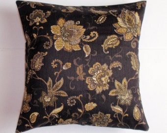 SUMMER SALE - Handmade Throw Pillow Cover, Elegant Black & Gold Floral Accent Pillow Cover, Pretty Floral Decorative Cushion Cover
