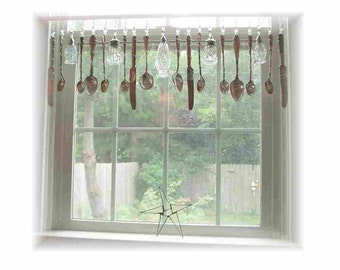 FREE SHIPPING! Savings of Twenty Dollars Shipping Costs! Crystal Romancing the Home  Shabby Cottage  Silverplate Kitchen Window  Valance