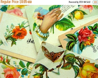BIG SALE Antique Edwardian Victorian Calling Cards 1920s  Gorgeous Roses Birds Hands Lot N053