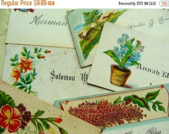 20PercentOff Antique Edwardian Victorian Calling Cards 1920s  Gorgeous Roses Birds Hands Lot N055