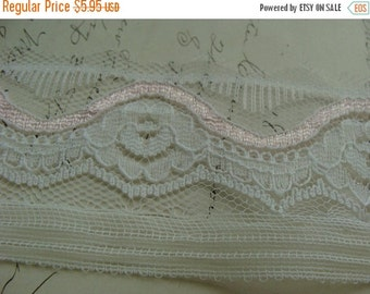 ONSALE Antique 1940s Sheer Slip Lace with Pink accent Yardage