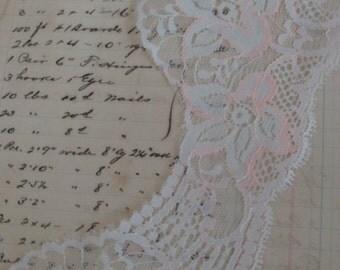 Scrumptious Victorian Cream and Blush Vintage Wedding Lace Yardage