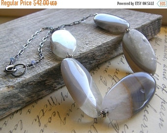 Summer Sale Grey Agate Statement Necklace, Large Gemstone Necklace, Quartz Necklace