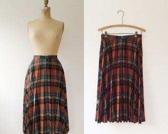 plaid wool skirt / pleated skirt / Sire wool skirt