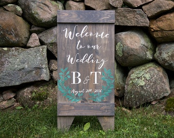 Rustic Distressed Wood Sandwich Board Style Welcome Wedding Sign Bride and Groom Initials and Date