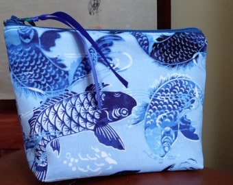 Blue Koi Make Up Pouch / Wristlet / Cell Phone Bag / Organizer