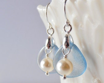 Blue Pearl Earrings, Blue and Cream Dangles, Sterling Silver Beaded Earings, Romantic Jewelry, Small Dangles, Glass Flower Petal Drops