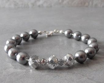 Gray Pearl Bracelet, Swarovski Pearl Bridesmaid Jewelry, Matching Jewelry, Bridal Party Bracelets, Platinum Bridesmaid Sets, Smoke, Grey
