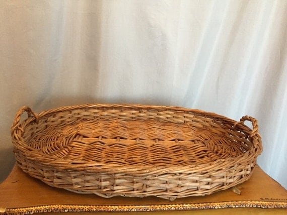 Wicker Basket Tray Coffee Table Serving Brown Woven Wooden